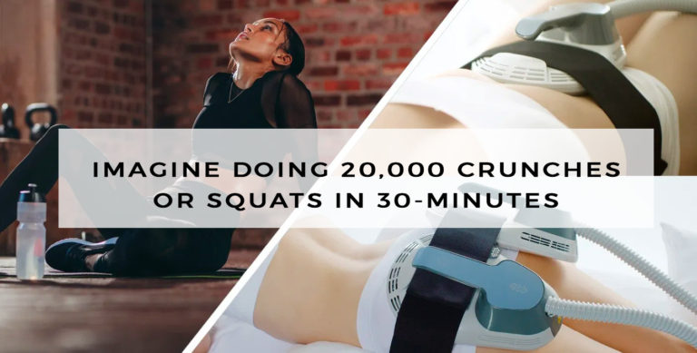 Imagine doing 20,000 crunches or squats in 30 minutes — that's what EMSCULPT simulates